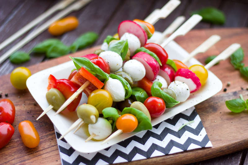 Vegetarian keto vegetables salad on a skewer