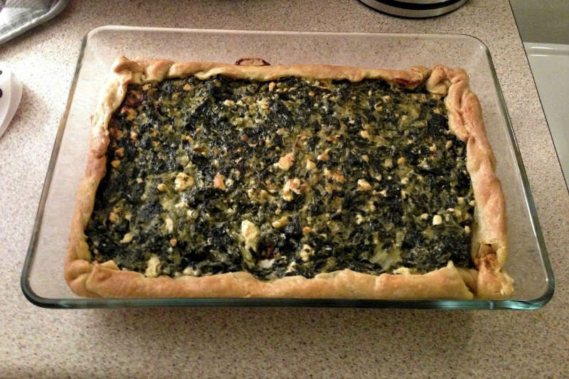 Vegetarian keto open spinach cheese pie