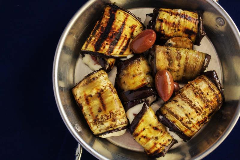 Vegetarian keto eggplant rolls with fresh mozzarella & tomato sauce