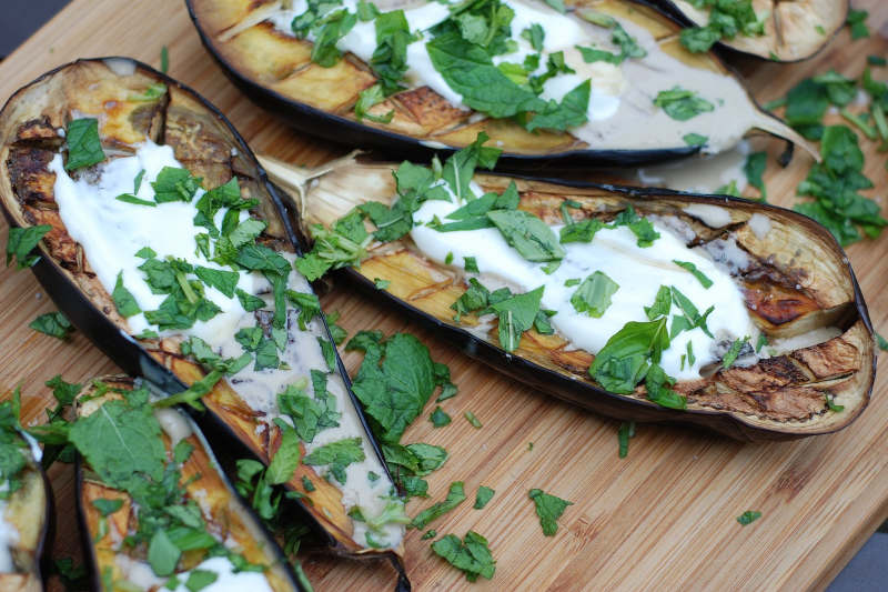 Vegan keto roasted eggplants with tahini sauce
