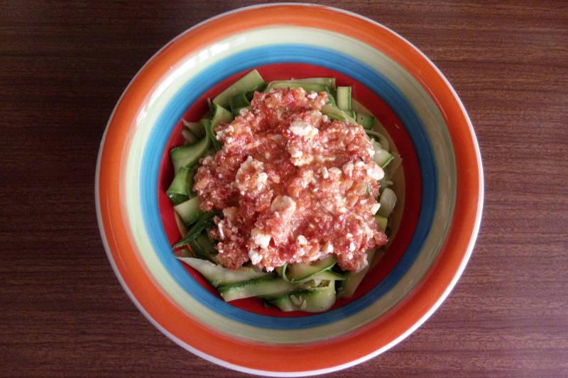 Vegetarian keto zucchini pasta with tomato sauce & feta cheese
